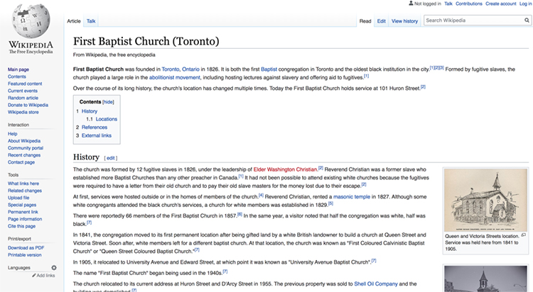 A screenshot of the Wikipedia web page for First Baptist Church (Toronto).