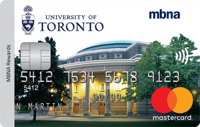 MBNA credit card with picture of Convocation Hall