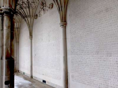 Carved in stone on the memorial screen are the ranks, names and units of those lost to the university in the First World War.