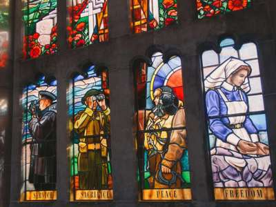 This beautiful stained glass window was commissioned for the Soldiers' Tower and dedicated on November 6, 1995.