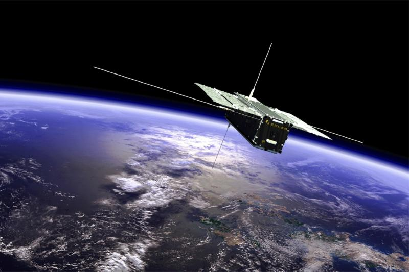 A box-shaped satellite with solar panels spread out like wings floats high above the Earth. A logo on its side says Kepler.