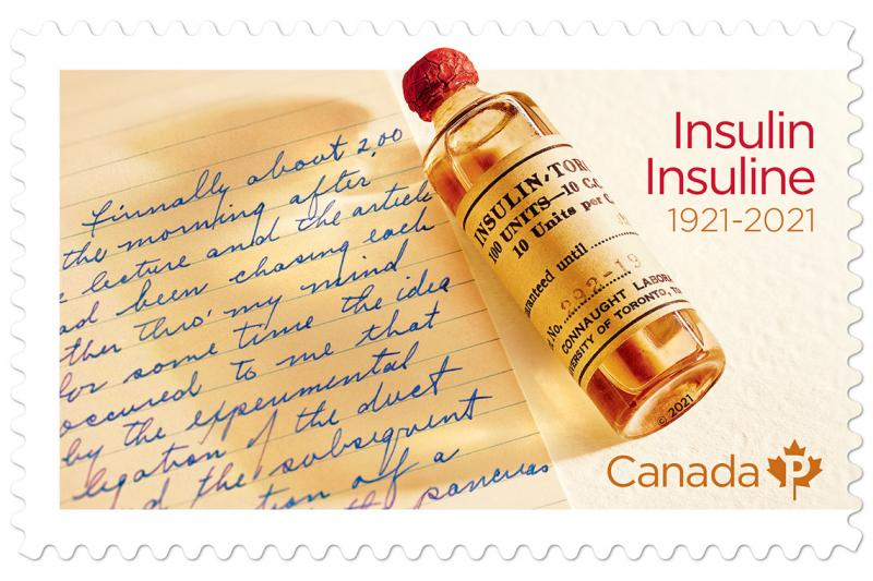 The insulin stamp shows a page of Banting's note, a 1920s vial of insulin, and the text: Insulin Insuline 1921-2021.