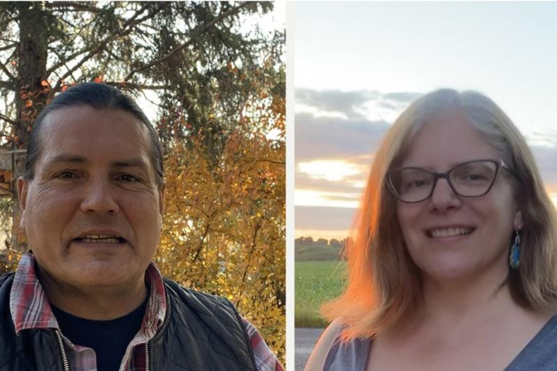 Side by portraits of Randy Lundy and Kateri Akiwenzie-Damm, both smiling, both outdoors in nature.