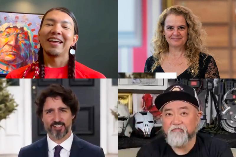 A collage of four photos portraying James Makokis, Julie Payette, Paul Sun-Hyung Lee and Justin Trudeau.
