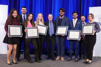 Gordon Cressy standing with several 2018 recipients of the Gordon Cressy Student Leadership Award