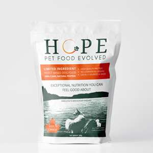 A package of the novel pet food is labelled Hope: Pet Food Evolved.