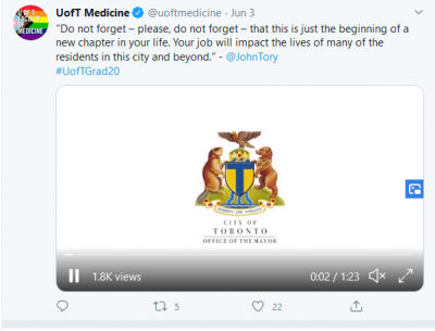 "Screenshot of John Tory's Twitter post telling graduates ""your job will impact the lives of many""."