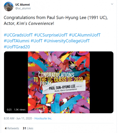 "A screenshot of a Twitter message to graduates reading ""Congratulations from Paul Sun-Hyung Lee!"""
