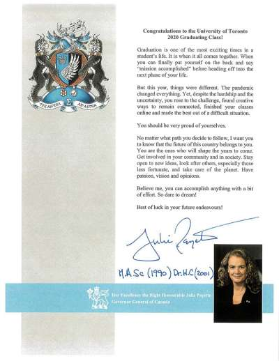 "Screenshot of Julie Payette's letter to graduates, telling them to ""Dare to dream!"""