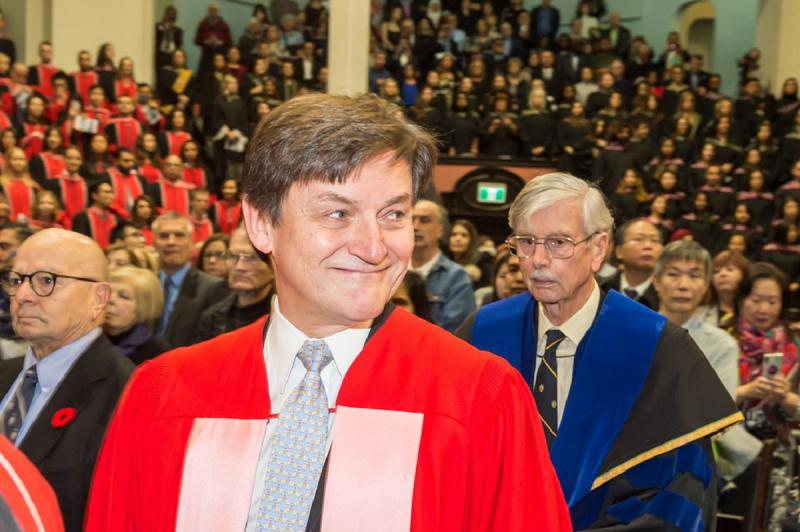 George Myhal was awarded Thursday a Doctor of Laws, honoris causa, for his service to the university as a mentor, donor and volunteer (photo by Steve Frost)