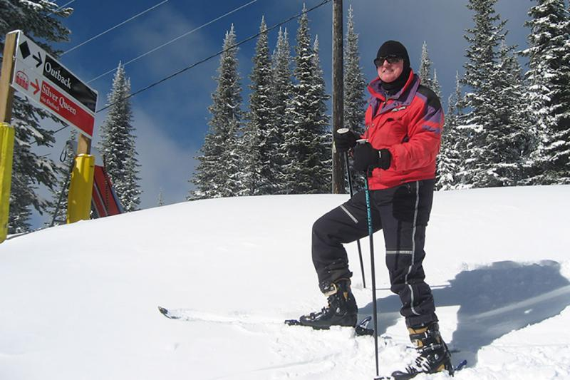 John Horton, pictured here on a ski trip in British Columbia in 2013, is believed to be the oldest member of the University of Toronto's 2018 graduating class (photo courtesy of John Horton)