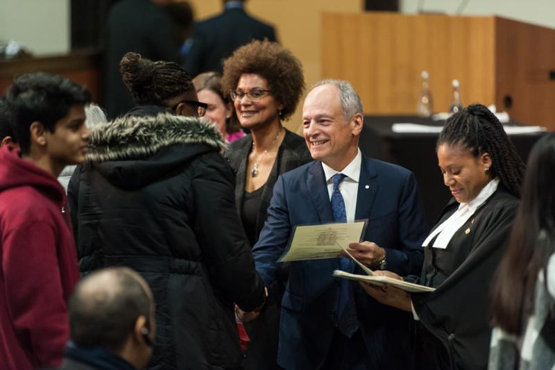 "U of T President Meric Gertler said it was fitting to host a citizenship ceremony at U of T, which ""like Canada itself reflects the diversity of the world"" (photo by Lisa Sakulensky)"