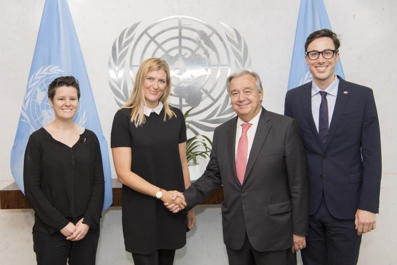UN Secretary-General António Guterres (second from right) meets with members of the International Campaign to Abolish Nuclear Weapons (ICAN)