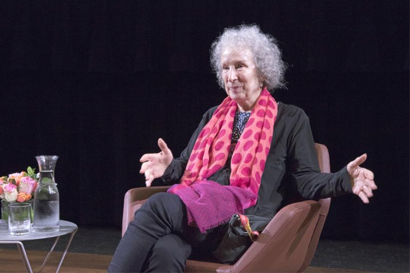 Margaret Atwood answers questions from the audience at Innis College (photo by Romi Levine)