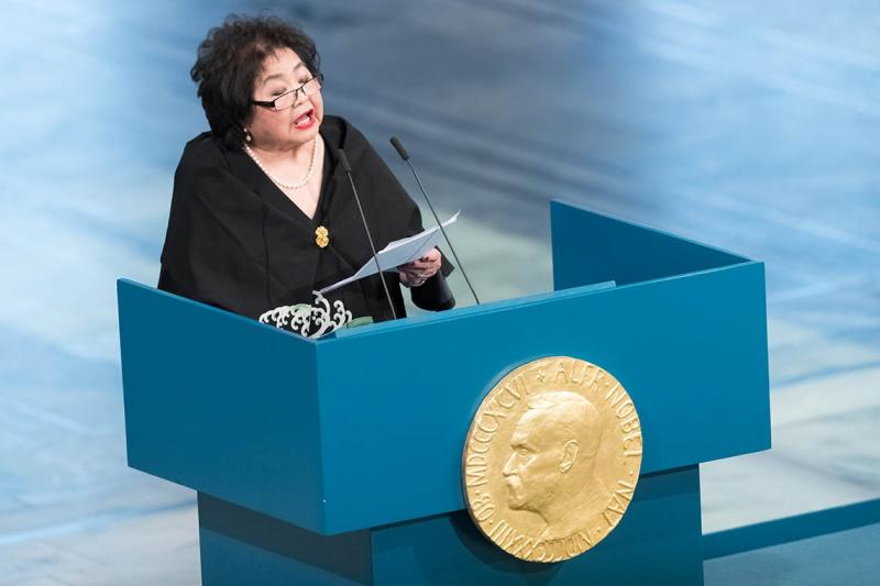 U of T alumna Setsuko Thurlow is a Hiroshima survivor and campaigner for the International Campaign to Abolish Nuclear Weapons. She gives a speech during the Nobel Peace Prize ceremony Dec. 10 in Oslo, Norway (photo by Nigel Waldron/Getty Images)