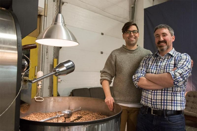 Cut Coffee's Lee Knuttila (left) and Impact Centre's Andrew Paton are researching how to roast the best coffee (photo by Romi Levine)