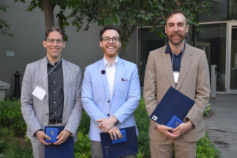 David Sandomierski, Mark Wade and David McLagan won the Governor General's Academic Gold Medal, one of the most prestigious awards for graduate students in Canada (photo by Fong Di Caterina)