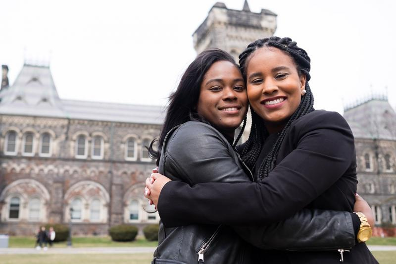 Lydia Gill (right) was the first in her family to go to university, an experience she shared with her high school friend Suzie Watson (left). They leaned on one another and supported each other until graduation (photo by Geoffrey Vendeville)