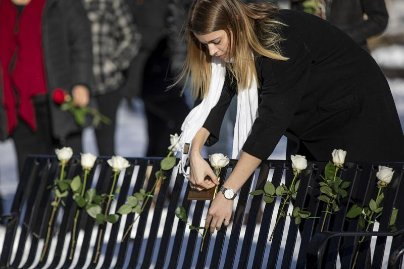 A woman threads a fresh rose into the back of a metal bench, among several others already displayed there.