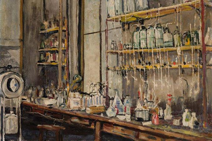 The Lab (1925) by Frederick Banting is his only known painting of the lab where he discovered insulin  (image courtesy of Heffel Fine Art Auction House)
