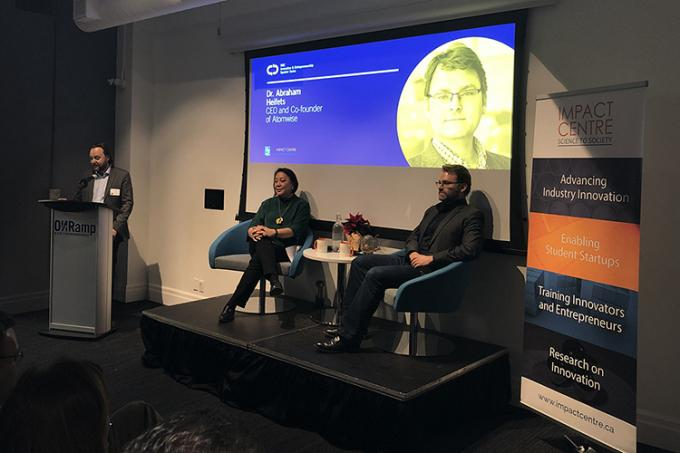 """As a scientist, especially a grad student, you have to figure out how to be scrappy and to answer a question,"" said Abraham Heifets (right) on Wednesday night at ONRamp. ""That is what a startup is."""