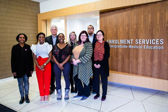 Some of the faculty and staff who helped establish and run the Black Student Application Program. From left, Dr. Lisa Robinson, Dr. Renée Beach, Dr. David Latter, La Toya Dennie, Lindsay Jackowetz, Leslie Taylor, Ike Okafor and Hana Lee (photo by Erin Howe)