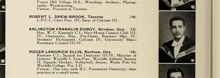 Arlington Franklin Dungy's yearbook photo from 1956