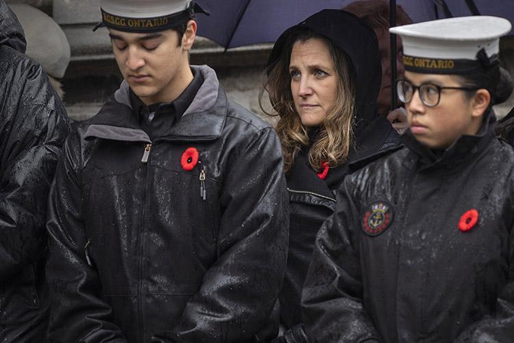 Foreign Affairs Minister Chrystia Freeland looks on during a service of remembrance at the University of Toronto's downtown campus (photo by Nick Iwanyshyn)