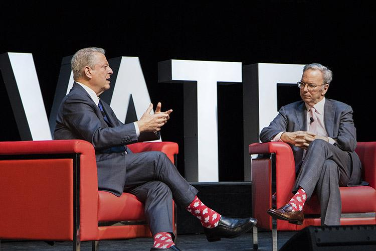 Wearing matching maple leaf socks, former U.S. vice-president Al Gore and former Google CEO Eric Schmidt chat on the main stage at the Elevate technology conference in Toronto, on Sept. 26 (photo by Chris Sorensen)