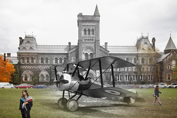 For Remembrance Day and the 100th anniversary of the armistice ending the First World War, U of T News staff photographer Nick Iwanyshyn juxtaposed archival campus photos with present-day pictures at the same location. Above, a Sopwith Camel plane appears in front of University College in 1918 (photo illustration includes a U of T Archives photograph)