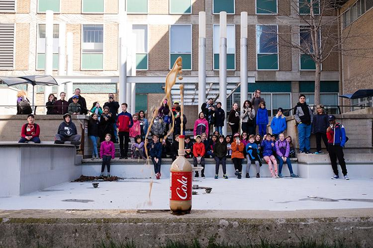 At the 25th annual Bring Our Children to Work Day on April 26, kids got to see a soda geyser made of Mentos and cola spraying 12 feet above the courtyard near Lash Miller Chemical Laboratories (photo by Geoffrey Vendeville)