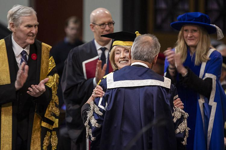 Rose Patten, centre, U of T's 34th chancellor, was installed in a ceremony in November (photo by Nick Iwanyshyn)