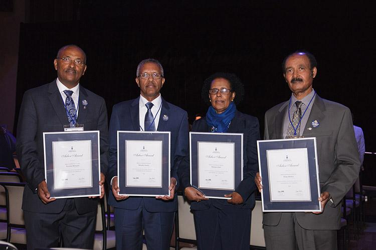 The Bikila Award Board of Directors, from left: Tessema Mulugeta, Behailu Atnafu, Haregua Getu and Birku Menkir (photo by Gustavo Toledo Photography)