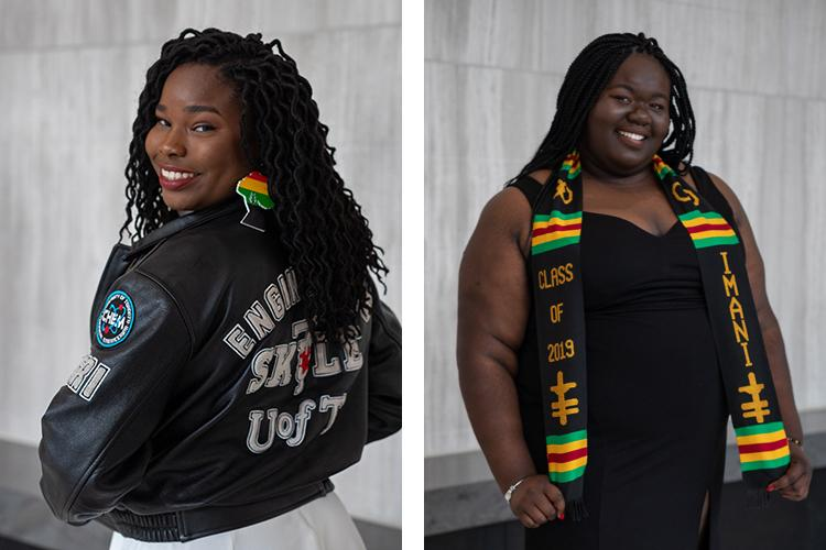 "Njeri Fraser wears her Skule leather jacket, Katherina Boyd wears her Black Grad scarf reading ""Class of 2019"" and ""IMANI""."
