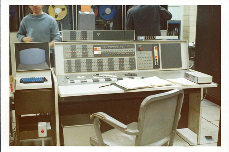 The console of the IBM 7094 computer at the Computer Centre at U of T (photo courtesy of University of Toronto Archives)