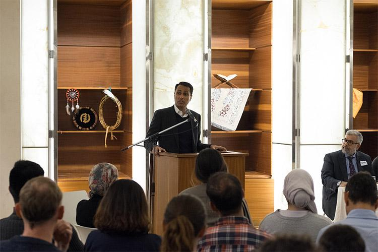 Eboo Patel spoke at an event marking the 10th anniversary of the Multi-Faith Centre (photo by Geoffrey Vendeville)