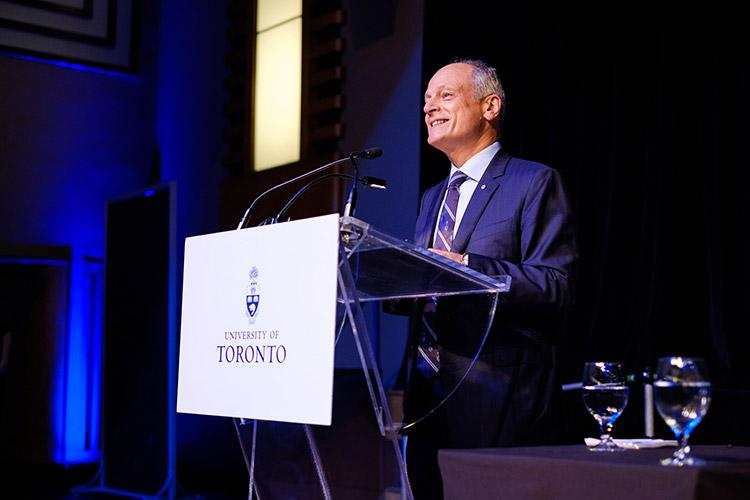 """By your example, you remind us of how the U of T community plays an outsized role in making our world a better place,"" said U of T President Meric Gertler (photo by Gustavo Toledo Photography)"