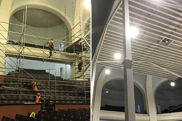 Workers build a platform to access the skylight in Convocation Hall. Right, the finished steel structure (photos courtesy of Michael Cicerani)