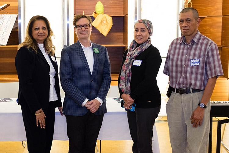 Richard Chambers (second from left) and staff at the Multi-Faith Centre (photo by Geoffrey Vendeville)