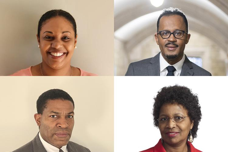 A composite of four portraits of Desma Charlemagne-Michel, Dexter Voisin, Njoki Wane and Roger Bulgin.