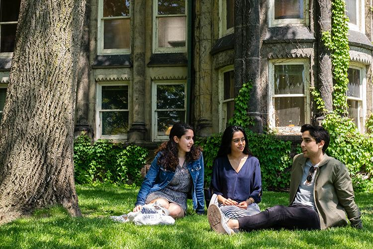 Oneida Baxhia, alumna Samyuktha Movva and Shahen Yashpal made a film about water conservation with alumnus Lucas Jaryd Iringan Te, not pictured (photo by Geoffrey Vendeville)