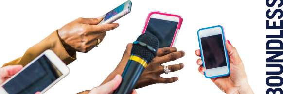 Several people holding smart phones and microphones as if recording an interview.