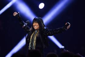 "Beverly ""Buffy"" Sainte-Marie at the 2016 Juno Awards in Calgary (photo by George Pimentel/Getty Images)"
