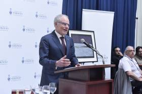 """Bruce (Kidd) has been a true champion of our role as a city-building institution,"" said U of T President Meric Gertler at Friday's farewell reception for the U of T Scarborough principal and vice-president (photo by Ken Jones)"