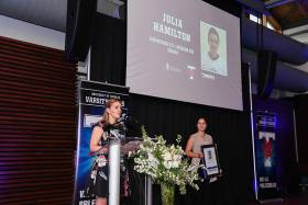 Julia Hamilton, who led the Varsity Blues women's squash team to three consecutive OUA titles from 2002 to 2005, while pursuing a medical degree, spoke at the induction ceremony (photo by Martin Bazyl)