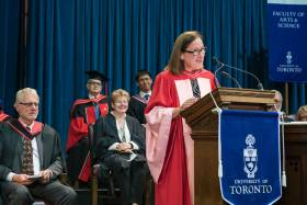 Ilse Treurnicht received an honorary Doctor of Laws, honoris causa, from the University of Toronto on Tuesday (photo by Steve Frost)