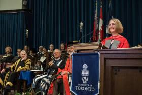 Janis Chodas, a U of T aerospace engineering alumna, was honoured with a Doctor of Science, honoris causa on Tuesday (photo by Lisa Sakulensky)
