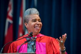 "Dionne Brand was given a Doctor of Letters, honoris causa, on Wednesday ""for her outstanding service for the public good as an educator, filmmaker and activist, and for her excellence in the arts as a poet and author"" (photo by Steve Frost)"