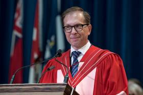 Dr. Michael Dan receives an honorary doctor of laws, honoris causa, on Thursday for his service to the community as a social entrepreneur and philanthropist