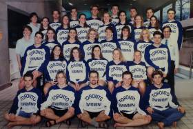 The men's and women's swimming teams in 1993-1994: Catherine McKenna, now the federal environment minister, is in the second row, second from right (photo courtesy of Byron MacDonald)